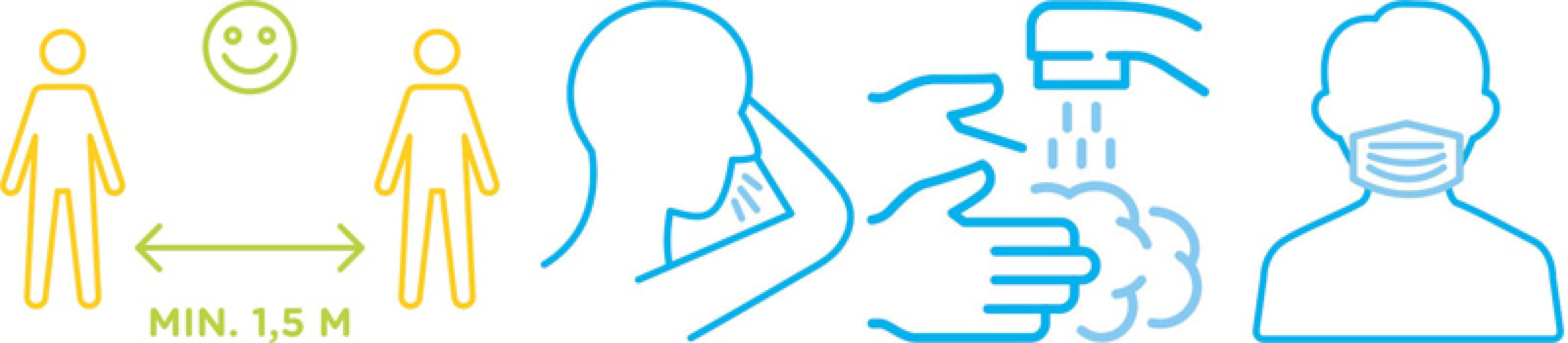 Piktogramme zu Abstand Niesen Händewaschen und Mundschutz
