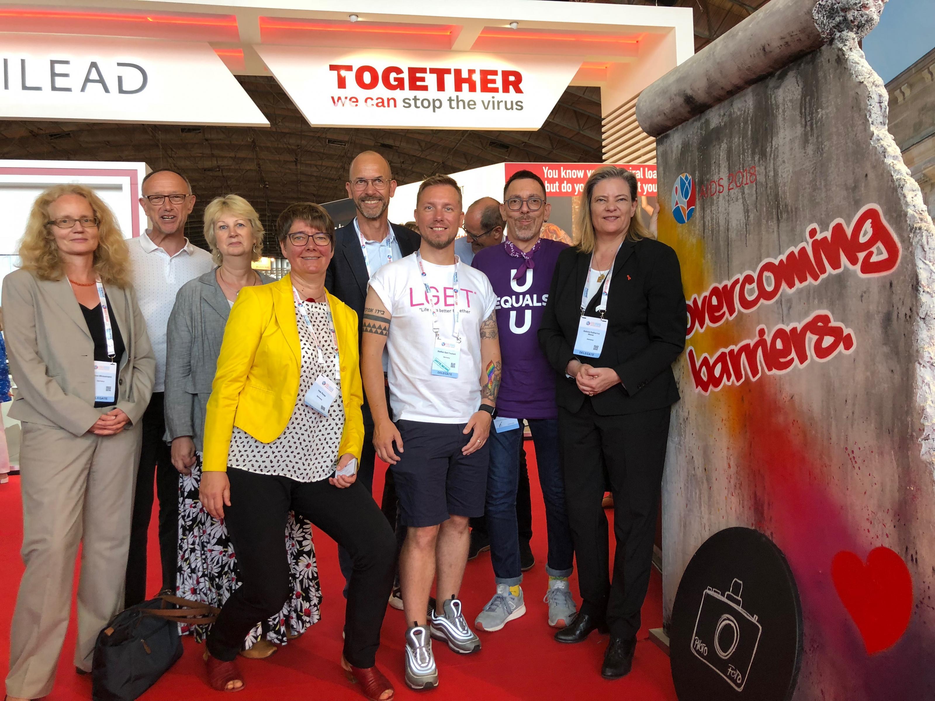 Meet and greet am Deutschen Stand bei der Welt-Aids-Konferenz in Amsterdam 2018