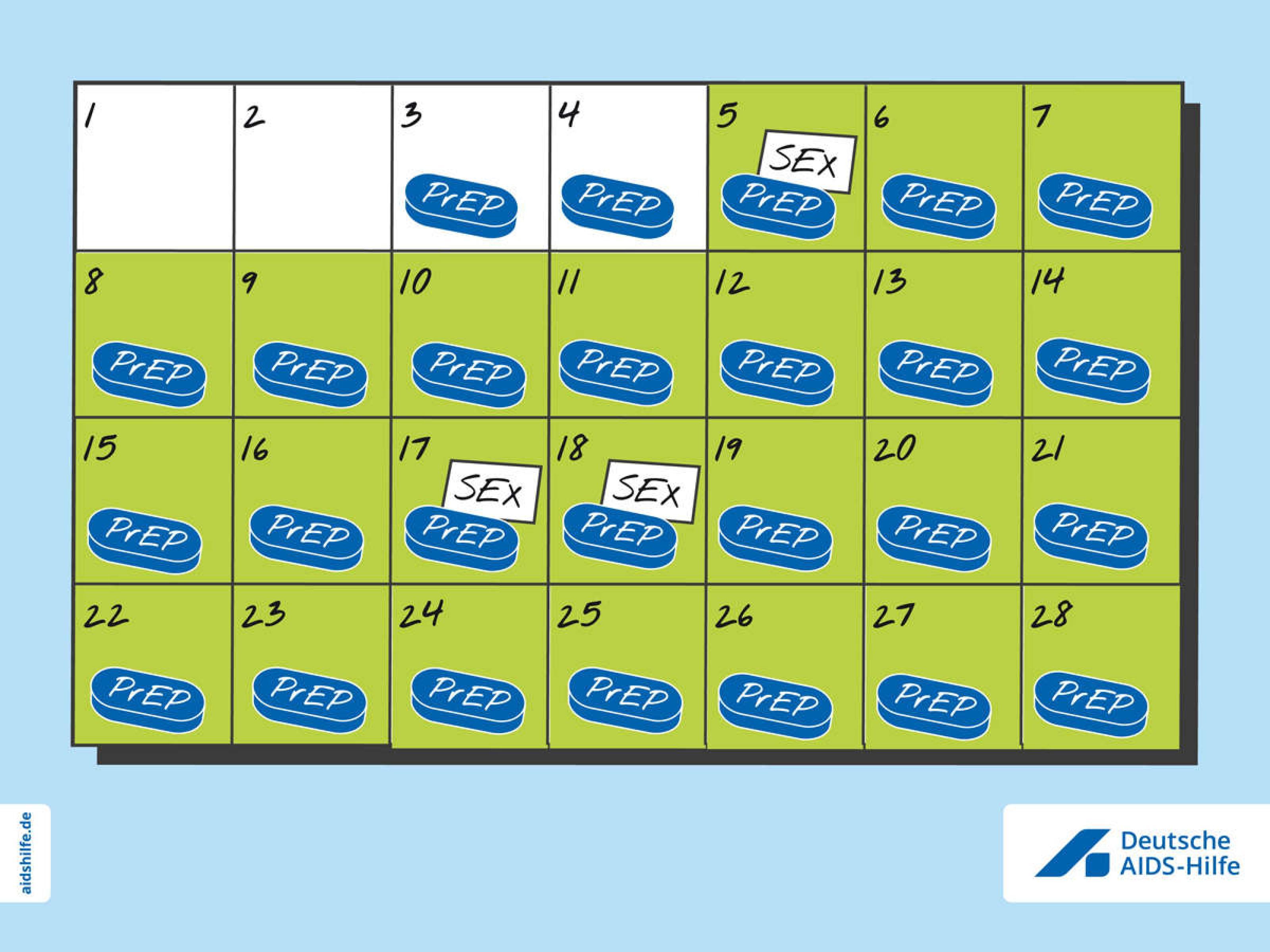 Kalenderblatt mit Pillen