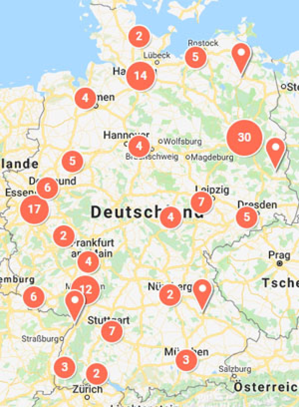 Deutschlandkarte mit Markierungen