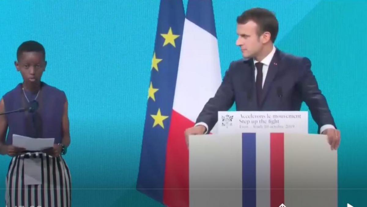 Emmanuel Macron bei der Wiederauffüllungskonferenz des Globalen Fonds 2019