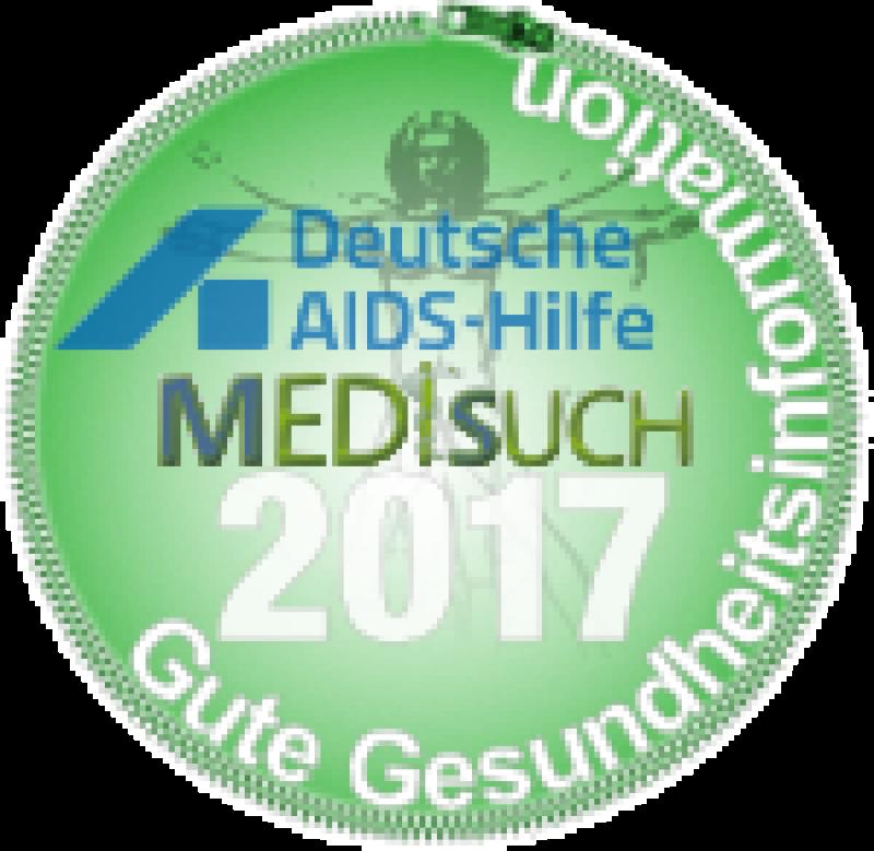Runde Plakette mit Logo der DAH und Schriftzug MediSuch 2017
