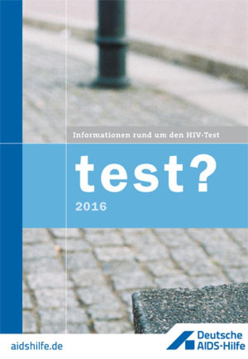 Umschlag einer Broschüre mit der Aufschrift Test und dickem Fragezeichen
