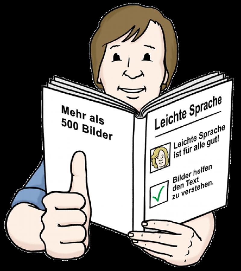 Leichte Sprache – Ein Mann liest ein Buch und freut sich.  Er zeigt den Daumen nach oben, weil er alles verstehen kann.