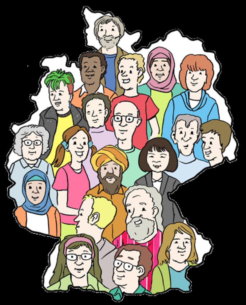Das Bild zeigt eine Karte von Deutschland mit vielen verschiedenen Menschen: Alt und jung. Mit und ohne Behinderung. Und Menschen mit verschiedenen Hautfarben.