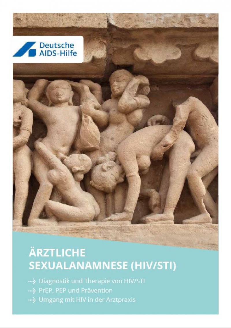 """Abbildung eines antiken Steinreliefs von Menschen in verschiedenen, sexuellen Stellungen. titel """"Ärztliche Sexualanamnese (HIV/STI)"""