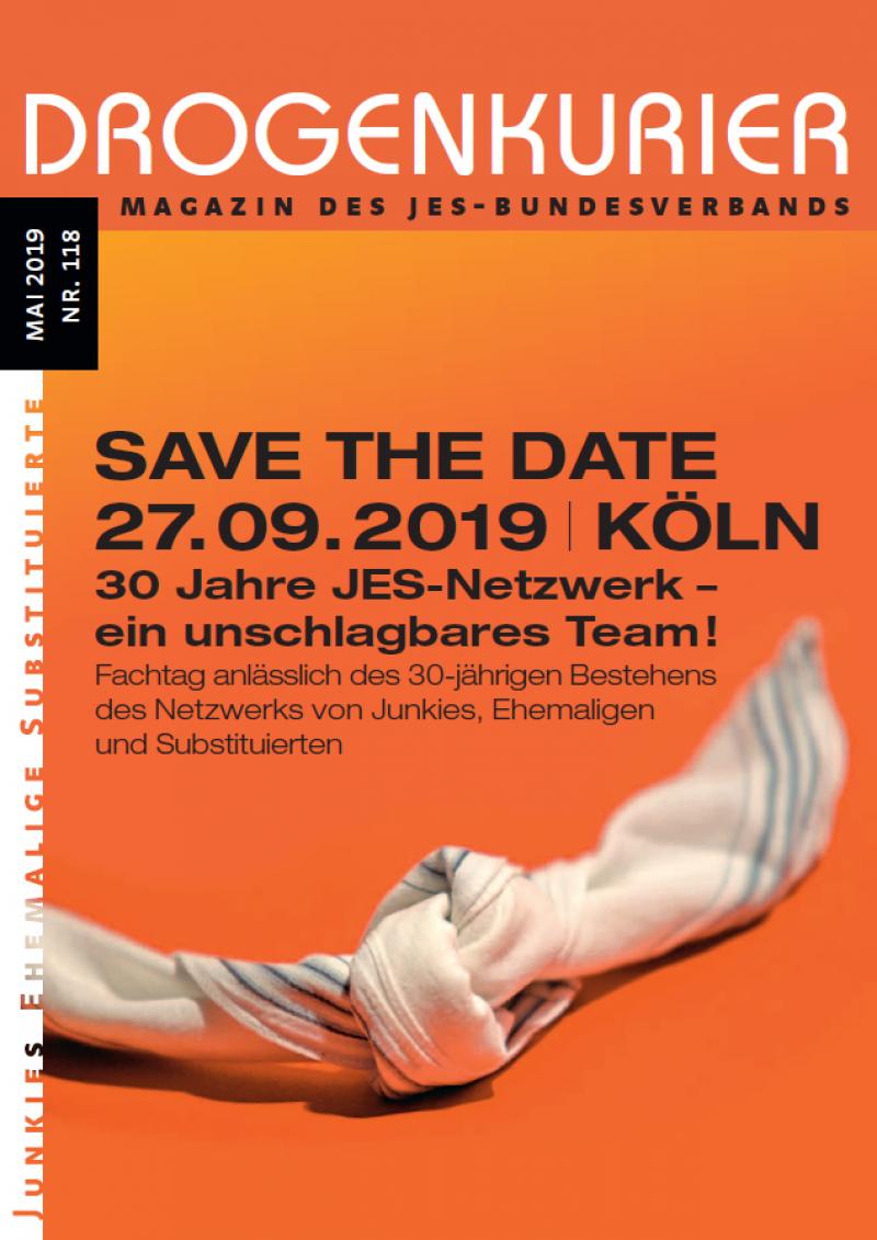 """Oranger Hintergrund. Taschentuch mit Knoten. Titel """"Drogenkurier Nr. 118""""."""