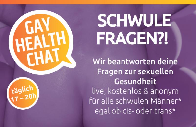 """Lila HIntergrund. Titel """"Schwule Fragen?!"""" - Gay Health Chat"""