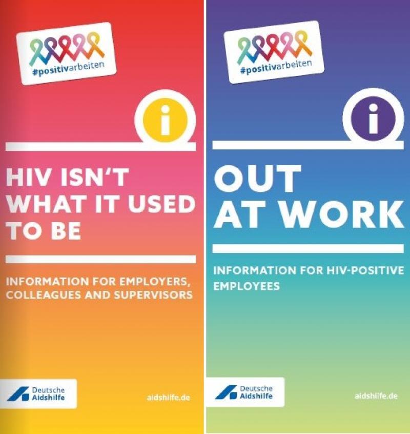 """Ansicht der Deckblätter des zweigeteilten Flyer """"Out am Arbeitsplatz / HIV ist auch nicht mehr das, was es mal war"""""""