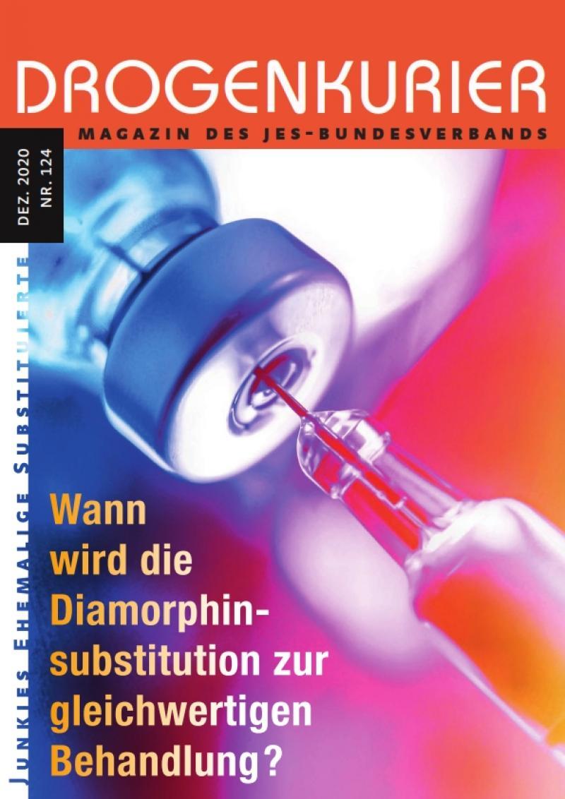 """Spritze und Ampulle. Titel """"Drogenkurier Nr. 124"""". Titelbildbeschreibung """"Wann wird die Diamorphinsubstitution zur gleichwertigen Behandlung?"""