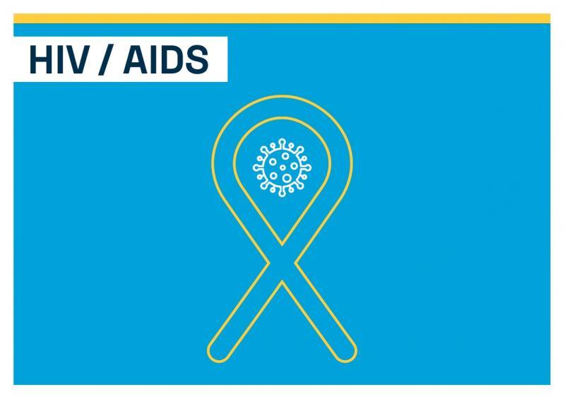"""Titelblatt. Thema """"HIV / AIDS"""". Abbildung der Aids-Schleife auf blauem Hintergrund."""