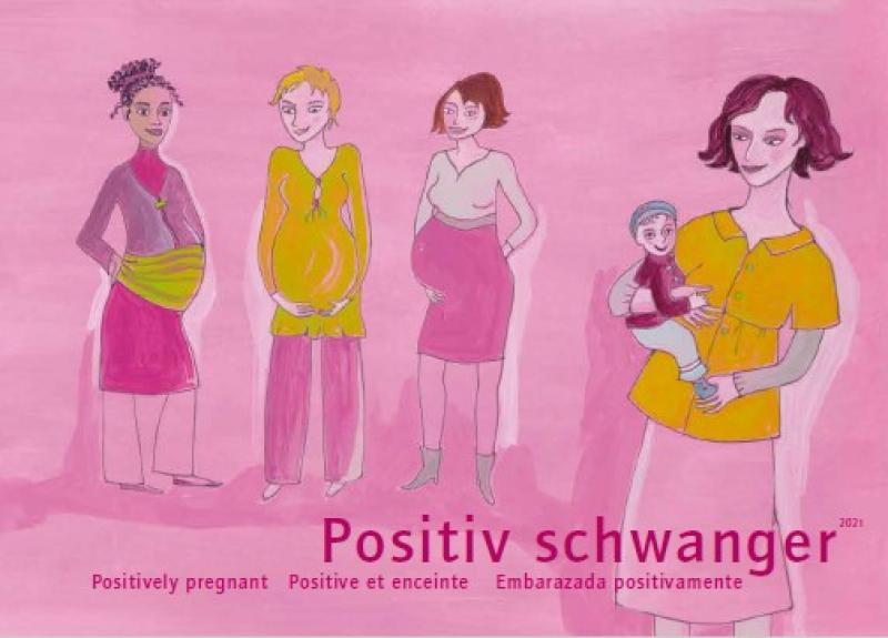 """Zeichnung von drei schwangere Frauen und eine Frau mit einem Kind auf dem Arm. Titel """"Positiv schwanger (deutsch / englisch / französisch / spanisch)"""""""