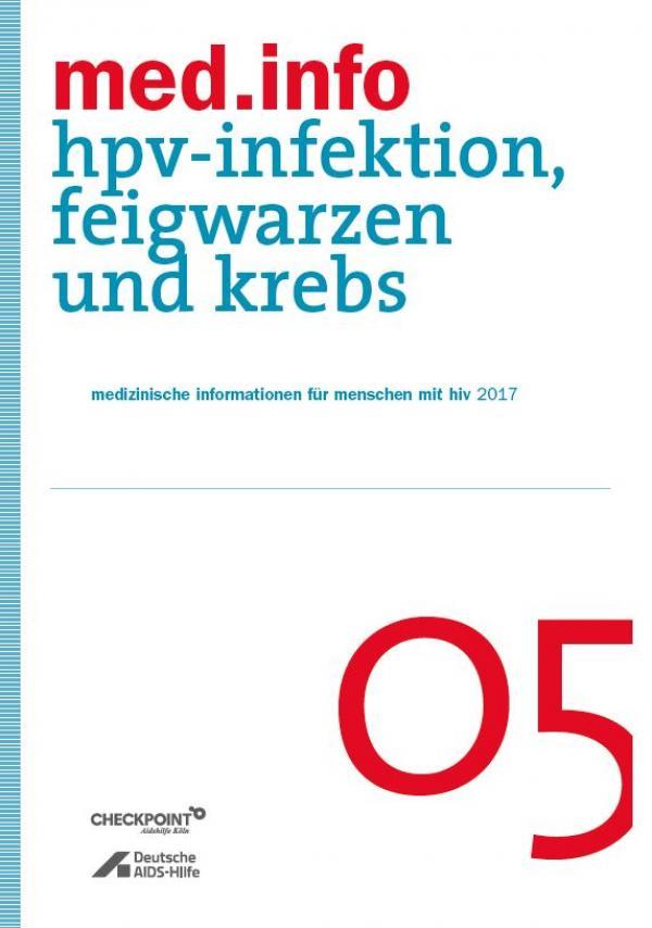 """Weisser Hintergrund mit Titelaufschrift """"med.info 05 - HPV-Infektion, Feigwarzen und Krebs"""""""