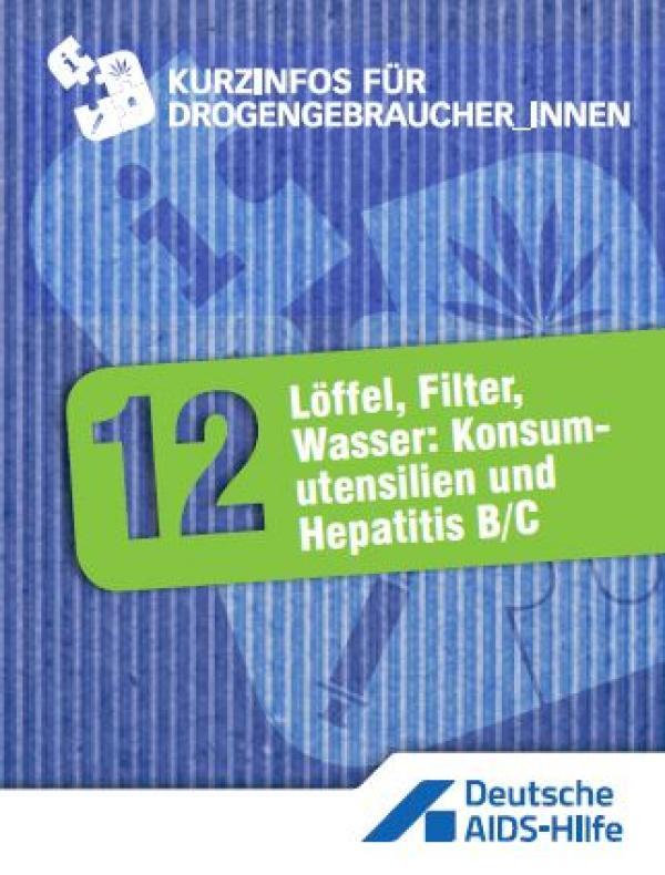 """Violetter Hintergrund mit grünem Feld mit Überschrift """"Löffel, Filter, Wasser: Konsumutensilien und Hepatits B/C"""""""