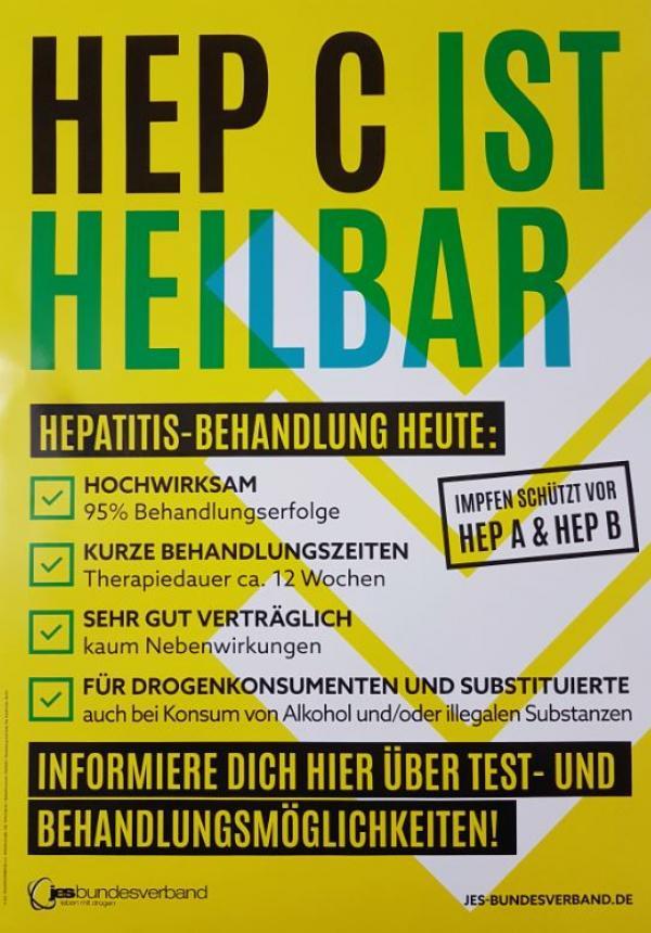 """Plakat mit der Aufschrift """"HEP C ist heilbar"""" und den aktuellen Fakten rund um die Hepatitis C Behandlung"""