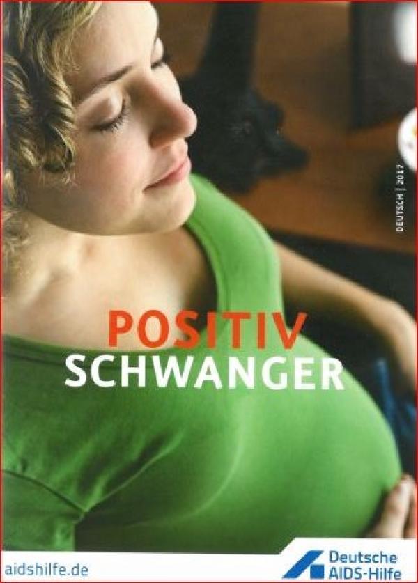 "Schwangere Frau in grünem Shirt, Titel ""Positiv Schwanger"""
