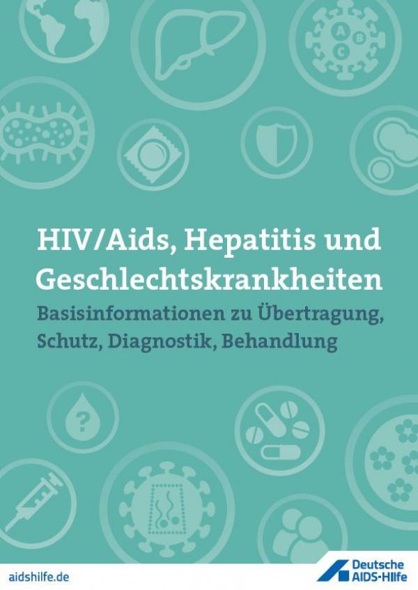 """Verschiedene Zeichnungen von Viren, Spritzen Kondomen und Pillen. Titel """"HIV/Aids, Hepatitis und Geschlechtskrankheiten"""""""