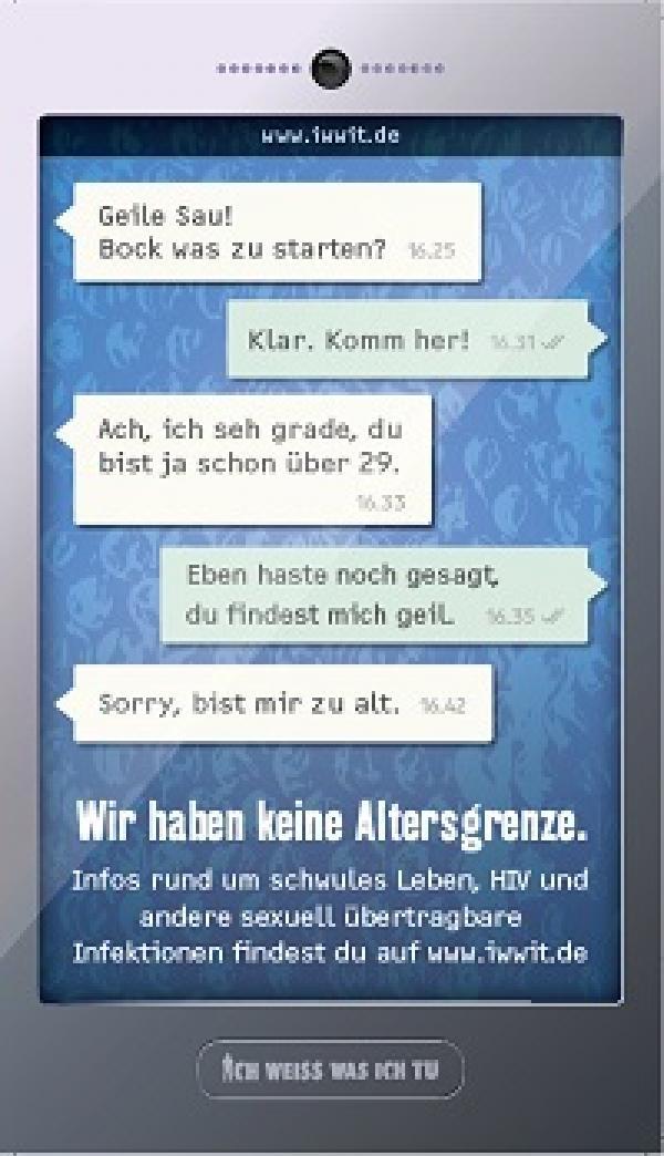 """Smartphone mit Chatverlauf. Thema """"Wir haben keine Altersgrenze"""""""