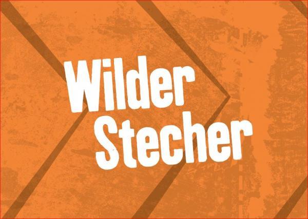 """Postkarte, Orange, Aufdruck """"Wilder Stecher"""""""