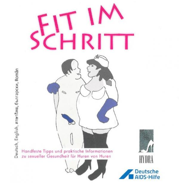 """Sexarbeiterin mit Freier im Arm. Titel """"Fit im Schritt"""""""