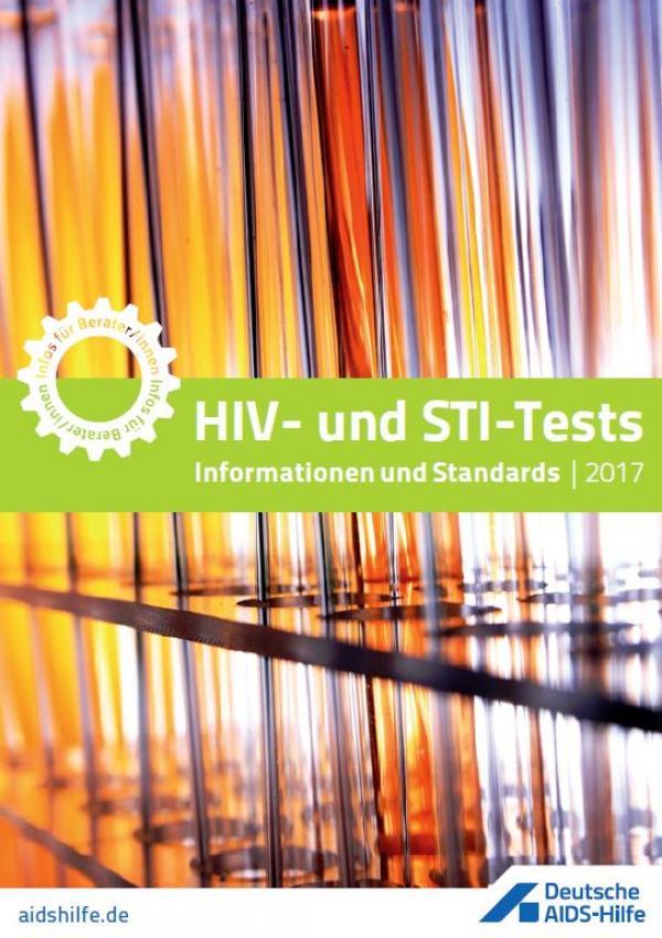 """Reagenzgläser im Ständer, Titel: """"HIV- und STI-Tests 2017. Informationen und Standards""""."""