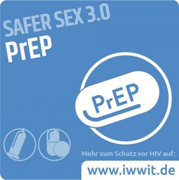 """Piktogram einer Pille. Weiße Schrift auf blauem Hintergrund. Text """"PrEP - Safer Sex 3.0"""""""