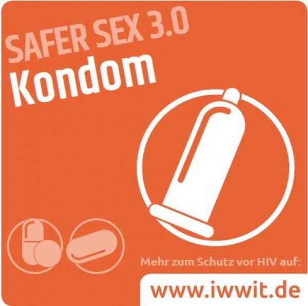 """Piktogram eines Kondoms. Weiße Schrift auf orangem Hintergrund. Text """"Kondom - Safer Sex 3.0"""""""