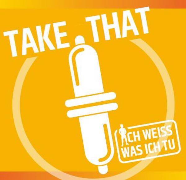 """Zwei Kondome auf gelbem Hintergrund. Titel """"Take That"""""""