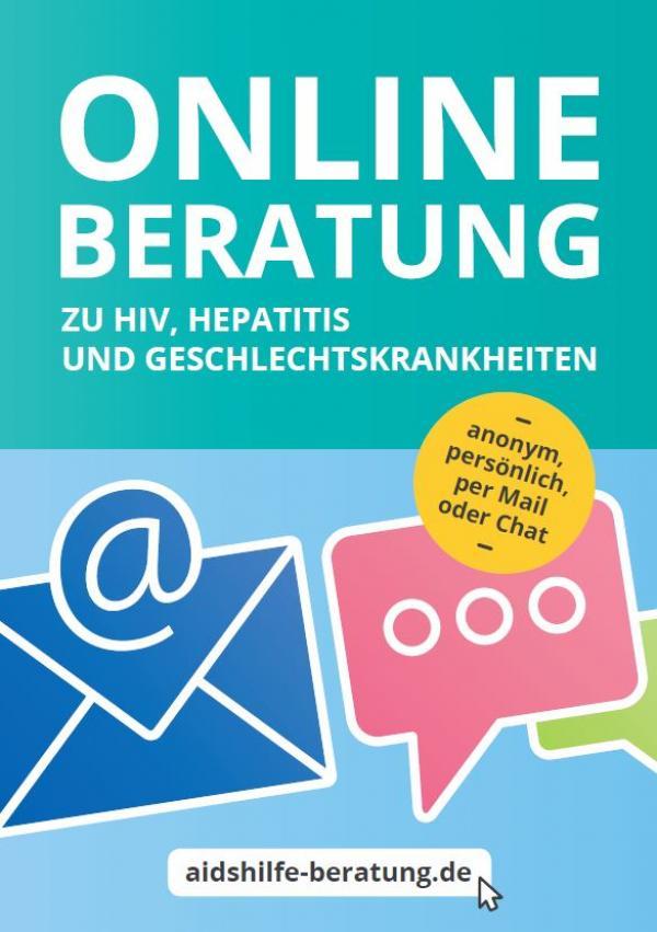 """Illustrationen einer Chatblase und Email. Titel """"Onlineberatung zu HIV, Hepatitis und Geschlechtskrankheiten"""""""""""