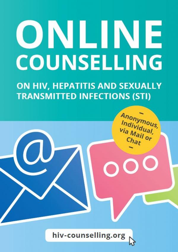 "Illustrationen einer Chatblase und Email. Titel ""Online counseling on HIV, Hepatits and sexually transmitted infections (STI)"""