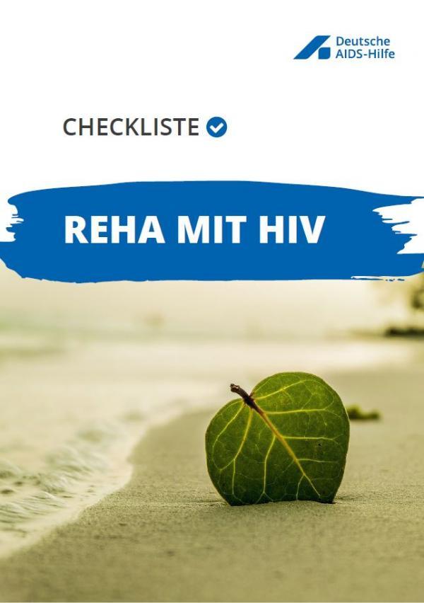 """Strand mit Wellen. Im Sand steckt ein Blatt. Titel """"Checkliste Reha mit HIV"""""""