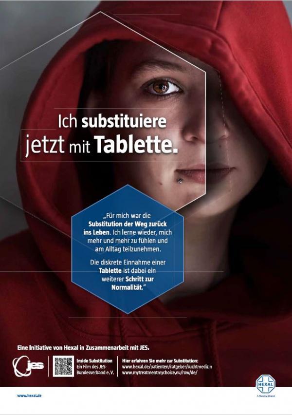 """Mädchen mit roter Kapuze. Titel """"Ich substituiere jetzt mit Tablette"""""""