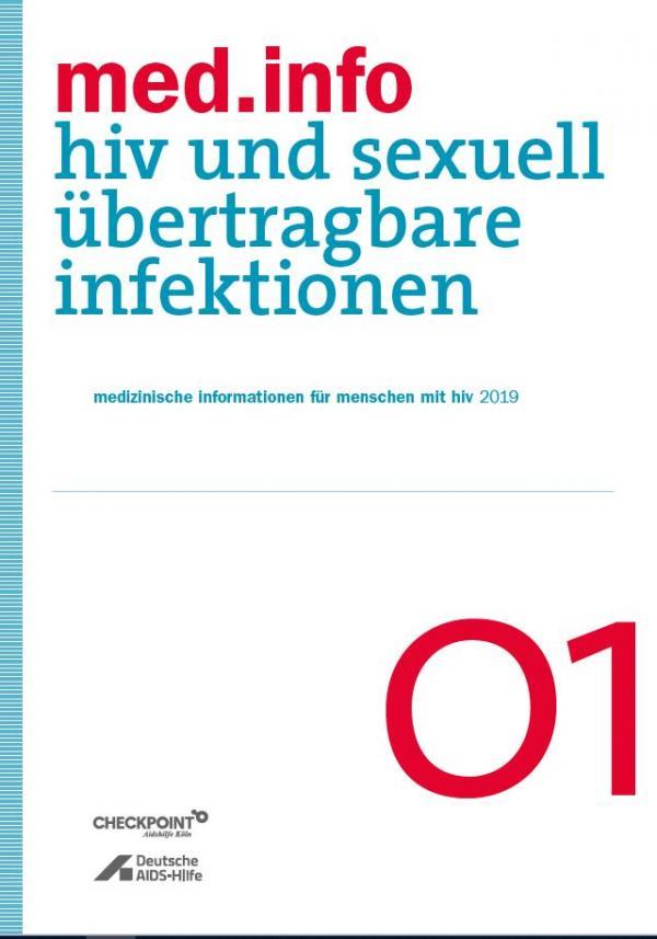 """Weißer Hintergrund. Blauer Streifen an der Seite. Titel """"med.info 01 - HIV und sexuell übertragbare Infektionen"""""""