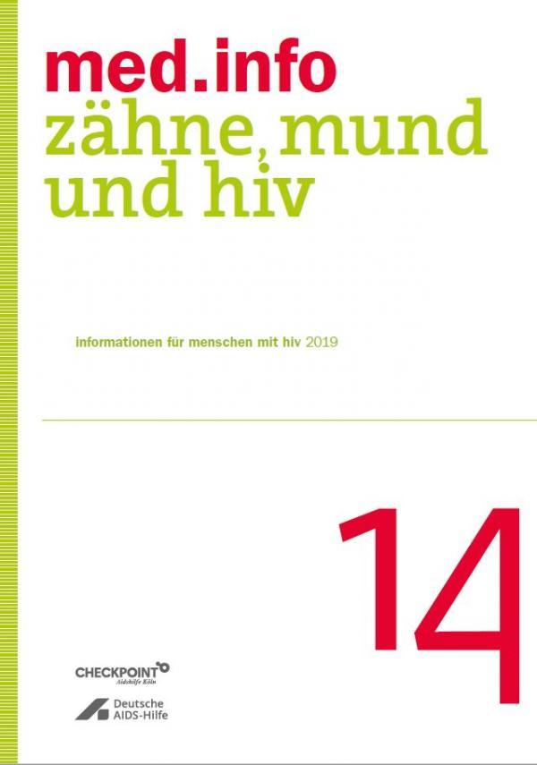 """Weßer Hintergrund. Grüner Streifen an der Seite. Titel """"med.info 14 m- Zähne, Mund und HIV"""""""