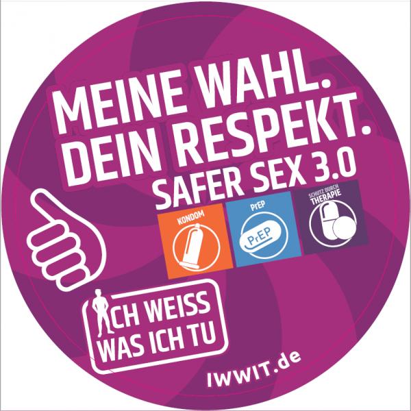 """Lila Hintergrund. Druck der Aufkleber """"Kondom"""", """"PrEP"""" und """"Therapie"""". Titel """"meine Wahl. Dein Respekt"""" aus der Kampagne """"Safer Sex 3.0"""""""