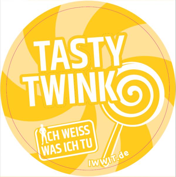 """Gelber Hintergrund. Zeichung eines Lutschers am Stil. Titel """"Tasty Twink"""" aus der Kampagne """"ich weiss was ich tu"""""""
