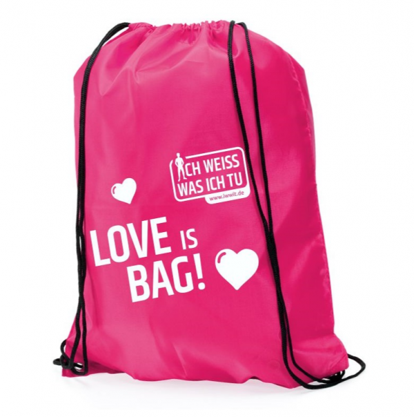 "Turnbeutel, rosa. Aufschrift ""Love is bag"""