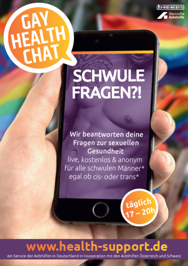 "Smartphone in Hand. Titel ""SCHWULE FRAGEN?!"" - Gay Health Chat."