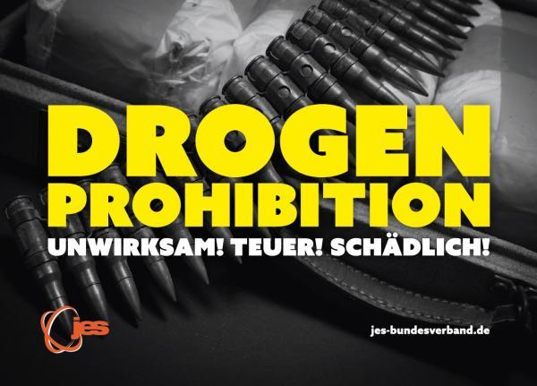 """Ptraonengurt im Hintergrund. Titel """"Drogenprohibition - Unwirksam! Teuer! Schädlich!"""""""