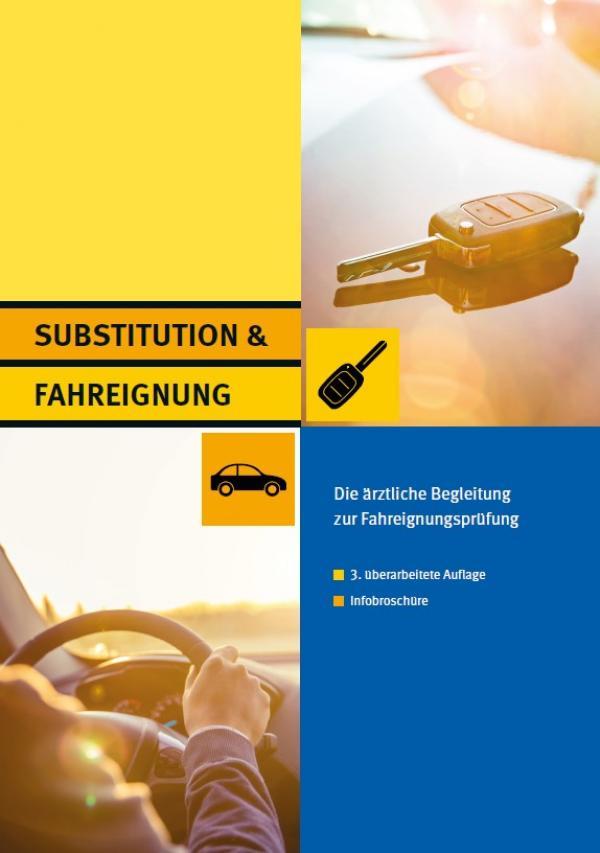 """Foto eines Autoschlüssels und von einem Fahrer am Lenkrad. Titel """"Substitution & Fahreignung - Die ärztliche Begleitung zur Fahreignungsprüfung"""""""