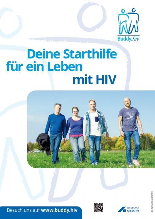 Mehrere Personen auf einer Wiese. Titel: Buddy.hiv - deine Startseite für ine Leben mit HIV