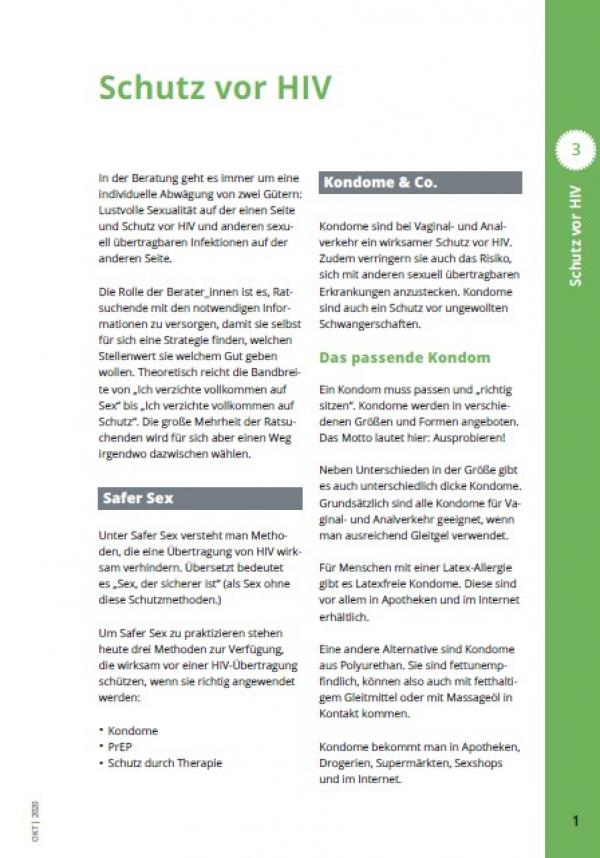 erste Seite des akutellen Kapitel 3 zur Infomappe für die Beratung in Aidshilfen