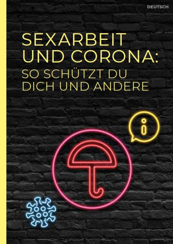 """Schwarzer Hintergrund. Als Neonleuchtreklame ein Regenschirm. Titel """"Sexarbeit und Corona"""""""