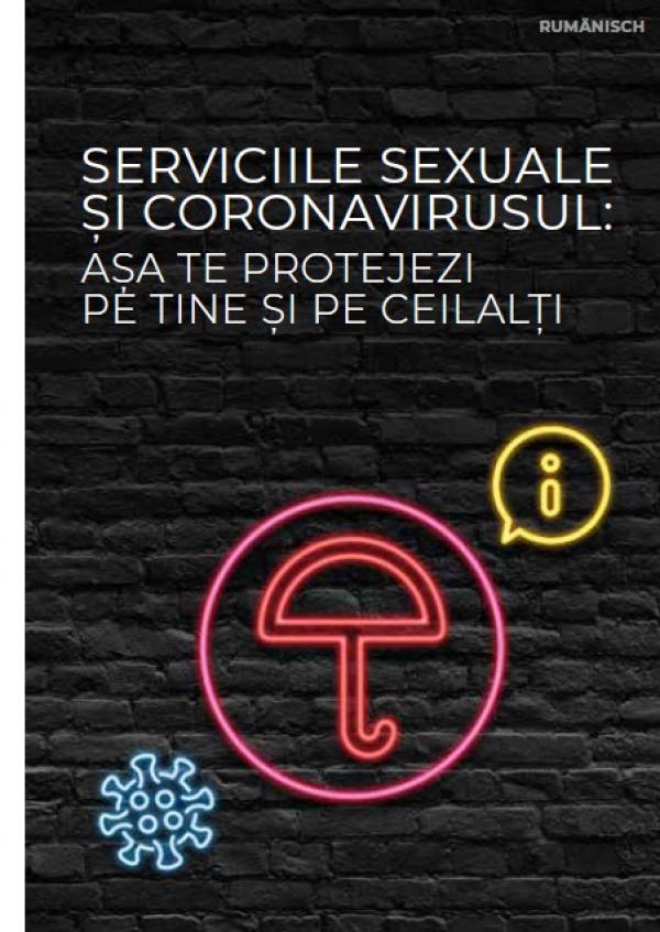 """Schwarzer Hintergrund. Als Neonleuchtreklame ein Regenschirm. Titel """"Sexarbeit und Corona (rumänisch)"""""""