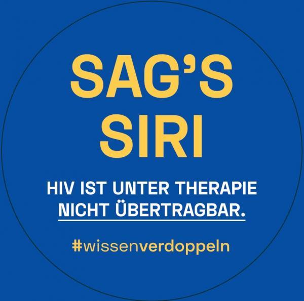 """Dunkelblauer Hintergrund. Titel """"Sag's Siri"""". HIV ist unter Therapie nicht übertragbar. #wissenverdoppeln"""