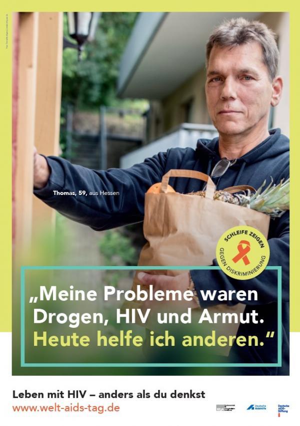 """Bild des Welt-Aids-Tag-Rollenmodells Thomas. Titel """"Meine Probleme waren Drogen, HIV und Armut. Heute helfe ich anderen."""""""