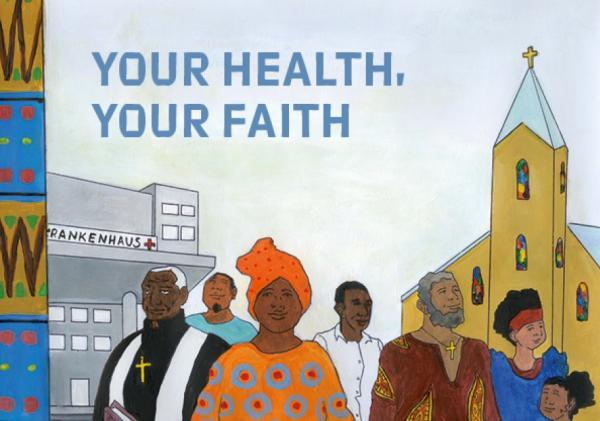 """Illustration von Gäubigen der afrikanischen Community vor einem Krankenhaus und einer Kirche. Titel """"Deine Gesundheit, dein Glaube"""" (englische Version)"""