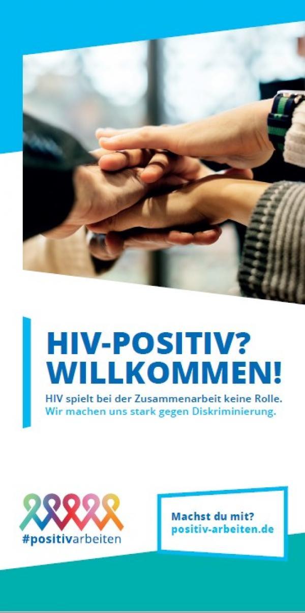 """Mehrere Händer übereinander zu einer Gruppengeste gelegt. Titel """"HIV-Positiv? Willkommen!"""""""