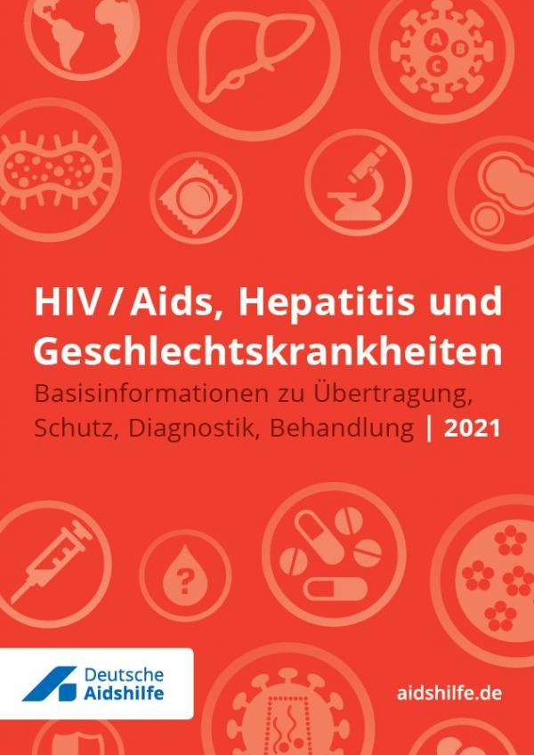 """Roter Hintergrund mit verschiedenen Piktogrammen (zum Beispiel Kondom, Pillen, Mikroskop). Titel """"HIV/Aids, Hepatitis und Geschlechtskrankheiten"""""""