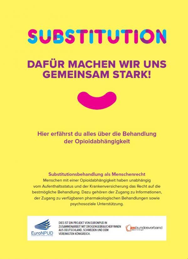 """Gelber Hintergrund. Titel """"Substitution - dafür machen wir uns gemeinsam stark!"""". Logos des JES Bundesverband und EuroNPD"""